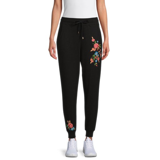 French Terry Embroidered Joggers, Black
