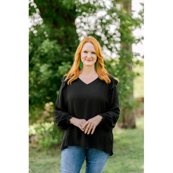 Ruffled Blouse with Long Sleeves, Black
