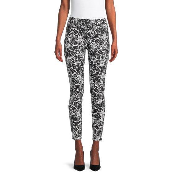 Pull-On Printed Jeans, Black/White