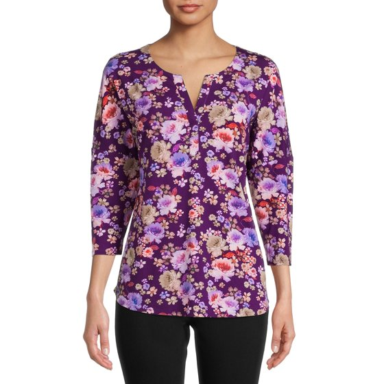 ¾-Sleeve Printed Henley, Purple Peony