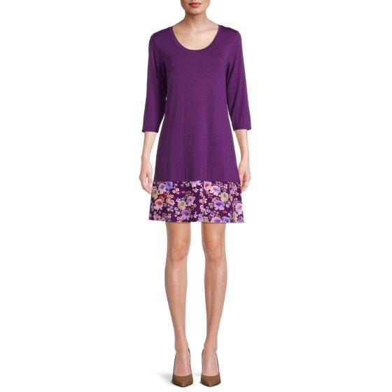 3/4 Sleeve A-Line Dress, Womens, Eggplant