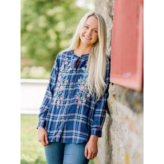 Embroidered Flannel with Long Sleeves, Moonlight Blue