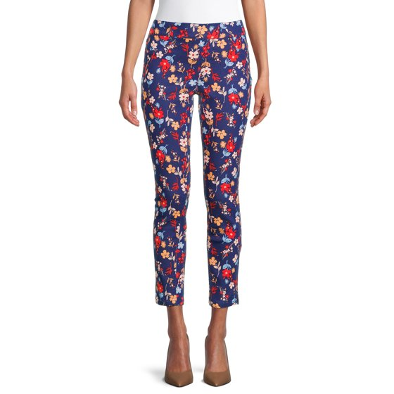 Pull-On Printed Jeans, Blue Floral