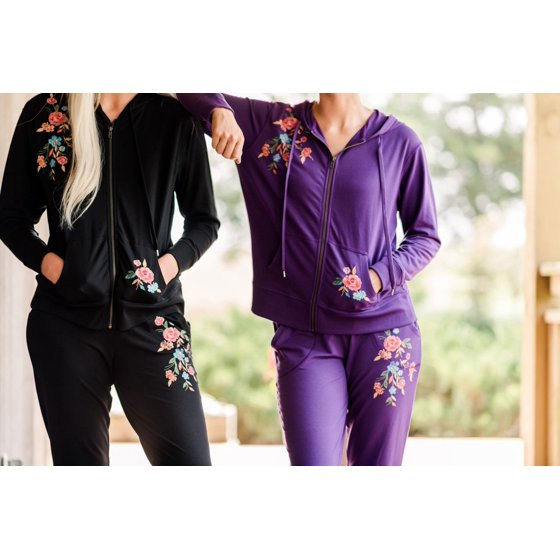 French Terry Embroidered Hoodie, Eggplant