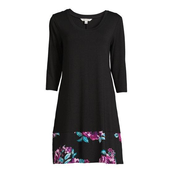 3/4 Sleeve A-Line Dress, Womens, Black