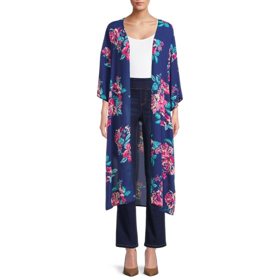Printed Duster, Womens, Blue Berry