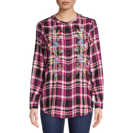 Embroidered Flannel with Long Sleeves, Plum Combo