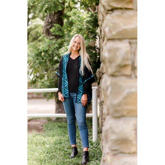 Open-Front Ruana Sweater, Black/Teal Spruce