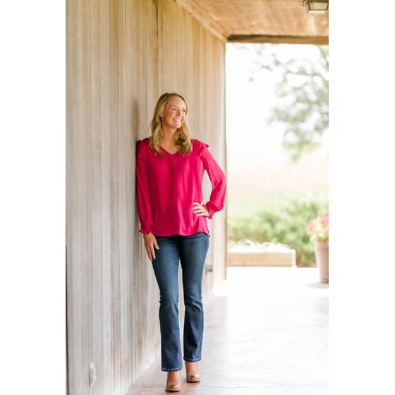 Ruffled Blouse with Long Sleeves, Sangria