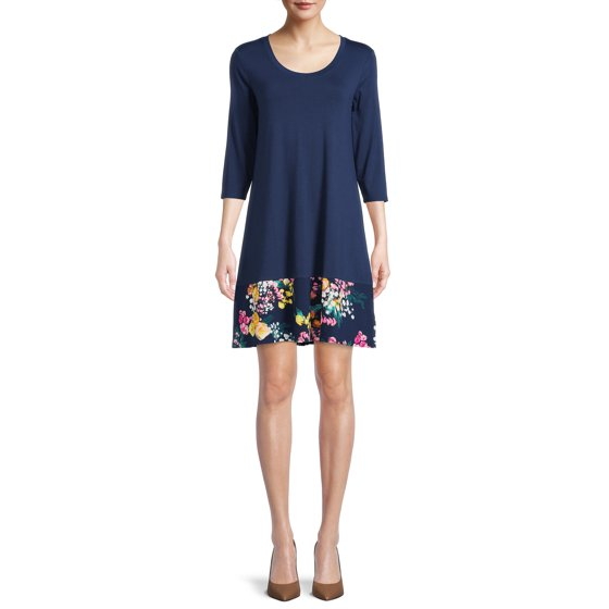 3/4 Sleeve A-Line Dress, Womens, Pageant Blue