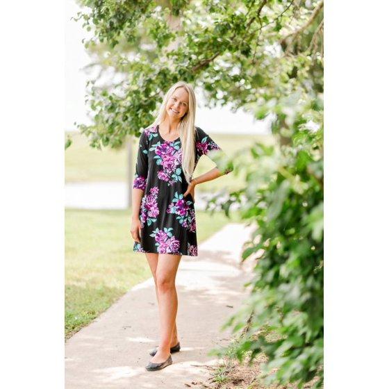 3/4 Sleeve A-Line Dress, Womens, Plumberry