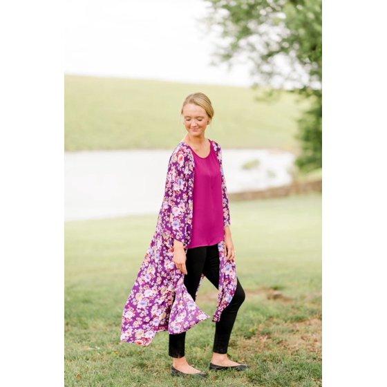 Printed Duster, Women's, Purple Peony