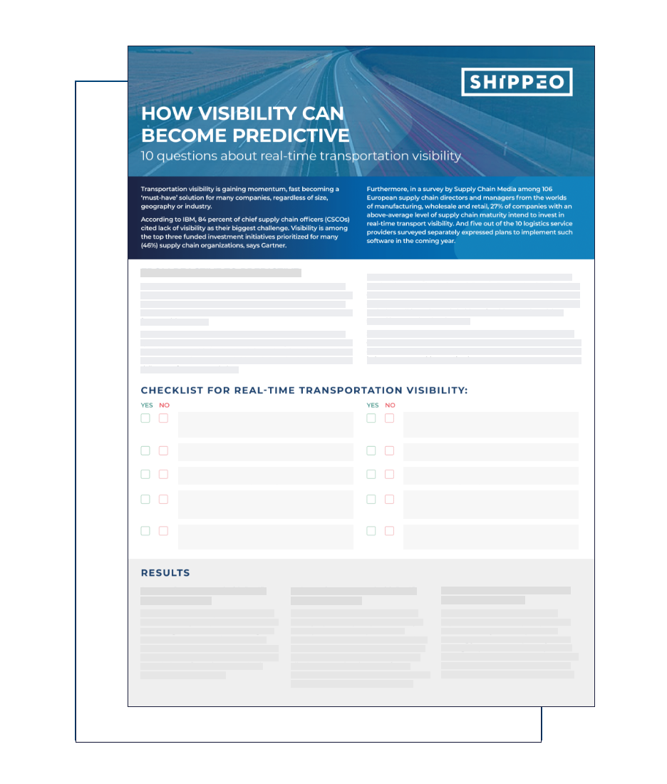 How advanced are your real-time visibility capabilities? Find out by completing our 2 minute visibility survey.