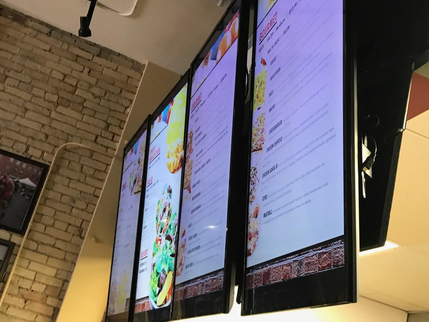 Digital Menu Board in a quick service restaurant