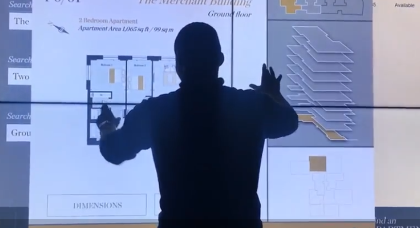 A man using an Interactive Wall