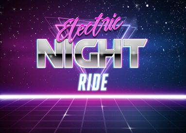 """retro 80s background that says """"electric night ride"""""""