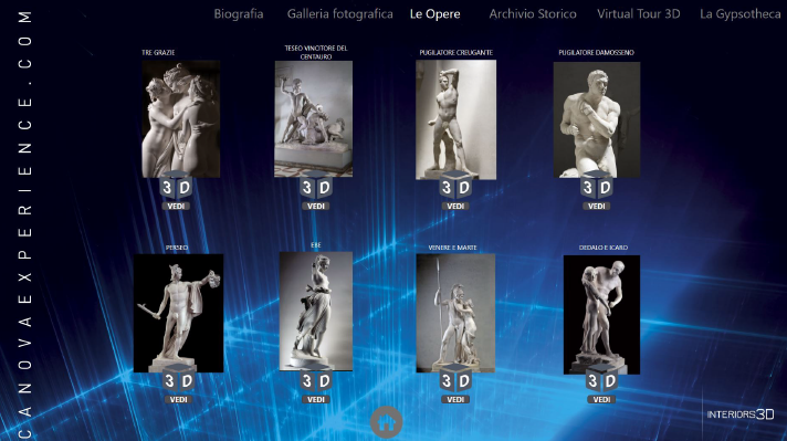 3D views of statues of the Antonio Canova Museum in Intuiface Player