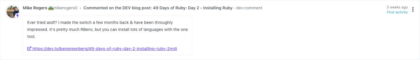 Screenshot of a DEV blog post comment on Orbit