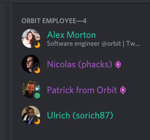 Screenshot of the user's list