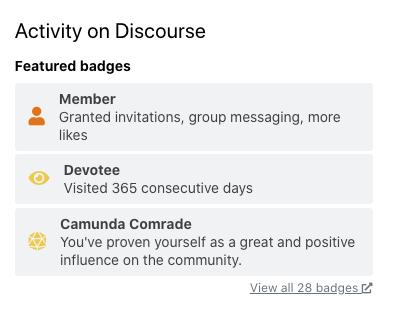 """Screenshot of Discourse badges, including """"Devotee"""" and """"Camunda Comrade"""""""