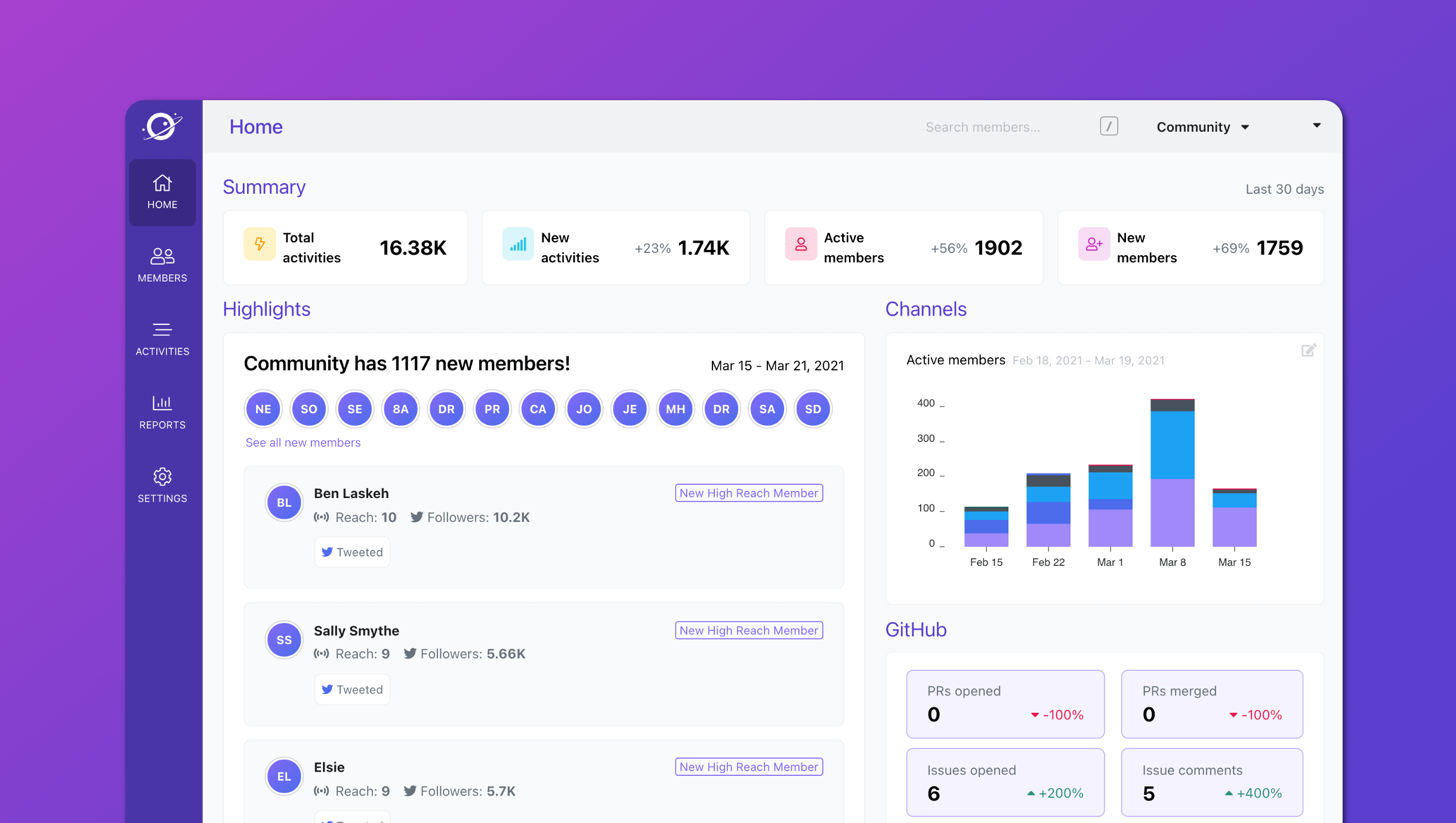 New workspace home page and sidebar navigation