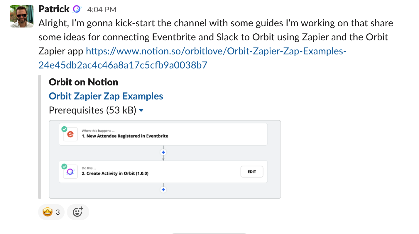 Screenshot of a slack message sharing a link to a library of Zapier examples