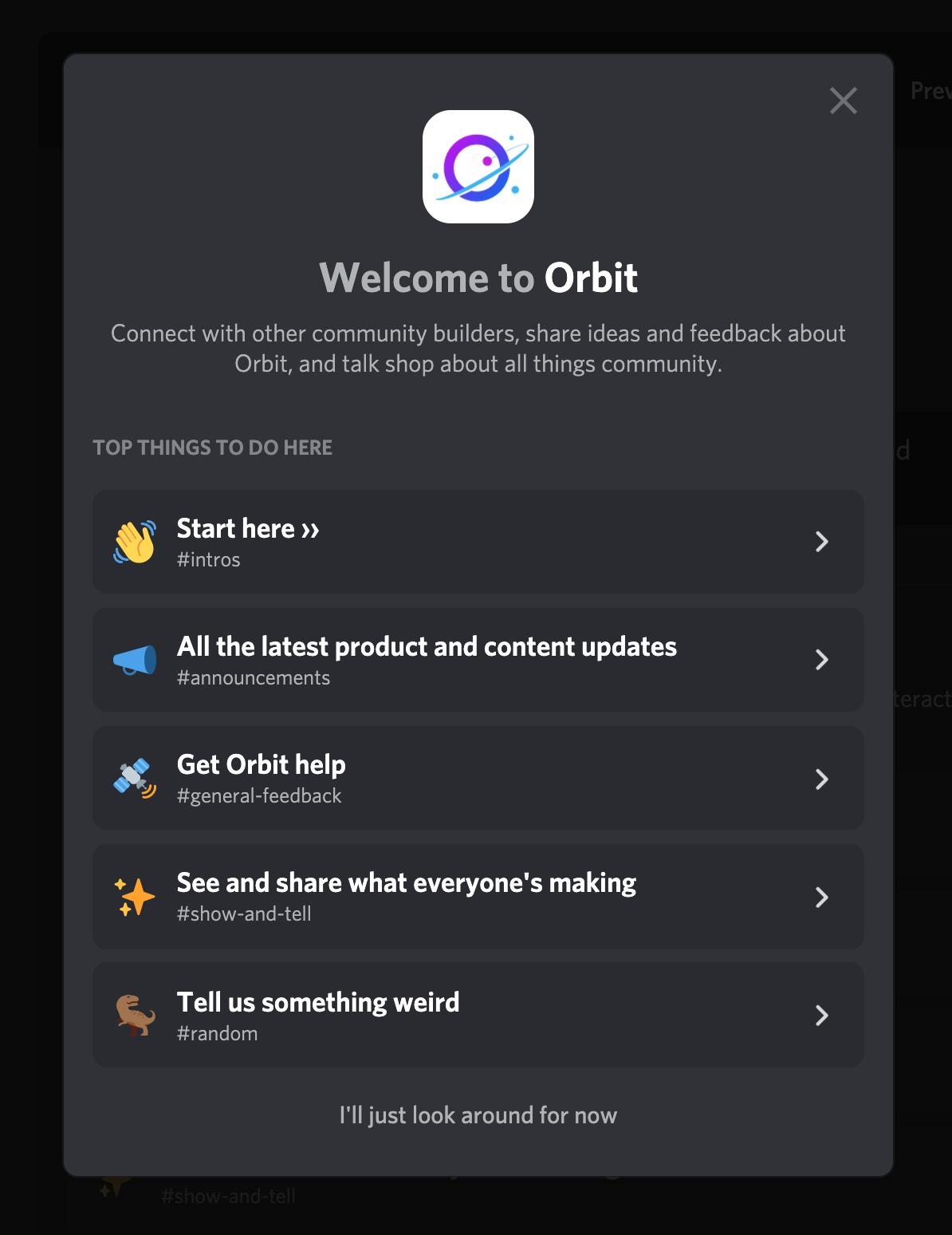 Screenshot of the Orbit Discord Welcome Message