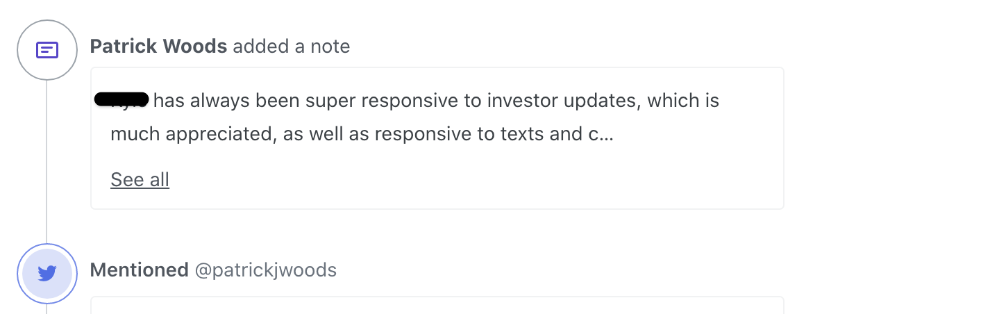 """Screenshot showing a note on the Orbit timeline. The note says: """"REDACTED has always been super responsive to investor updates, which is much appreciated, as well as responsive to texts and c…"""""""