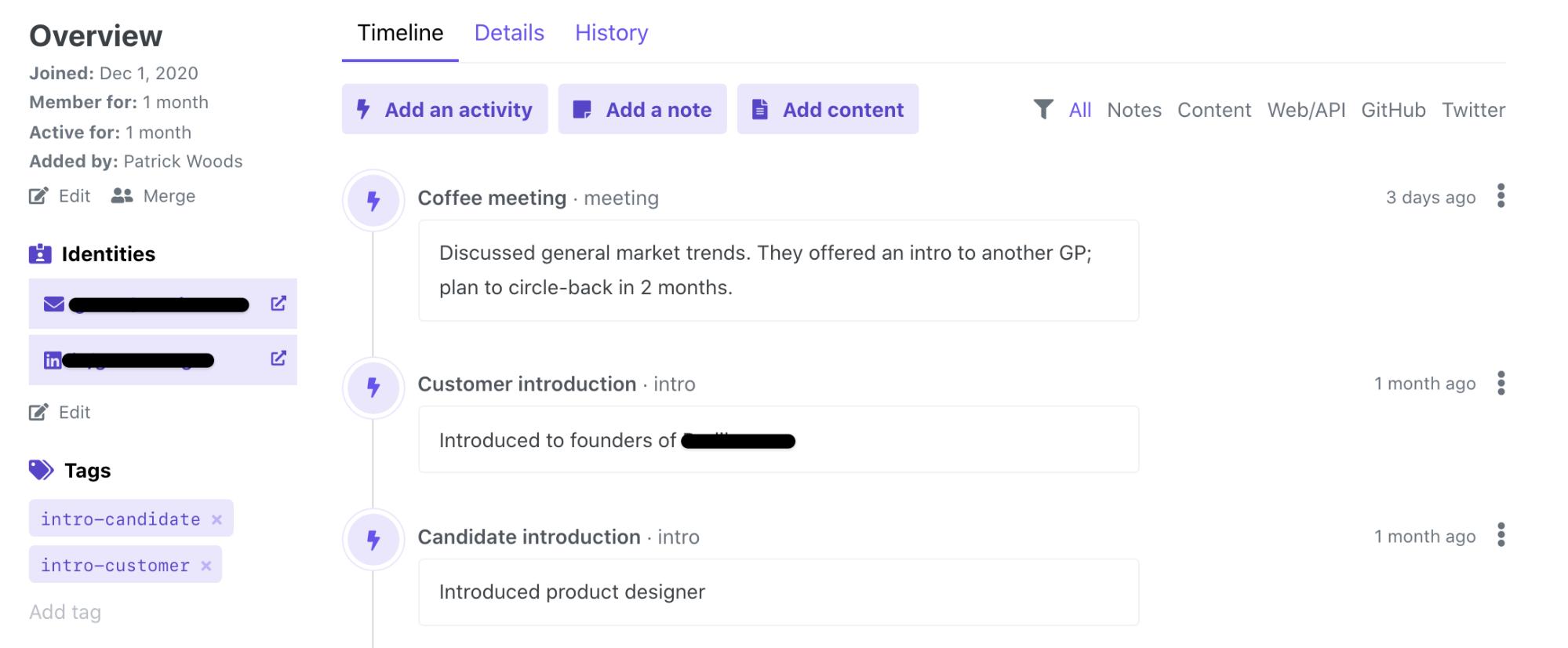 Screenshot showing an Orbit member prpofile
