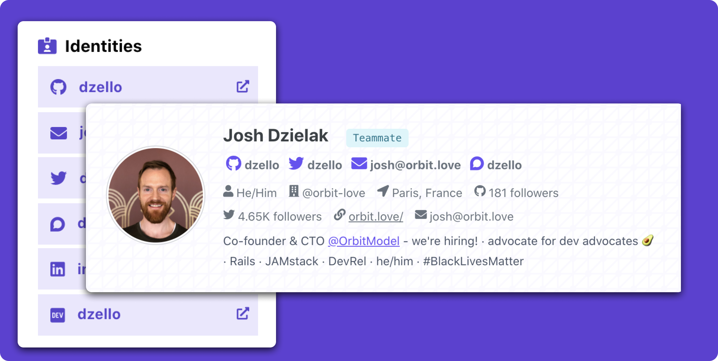 Screenshot of an Orbit Member profile, including headshot, biography, and social links.