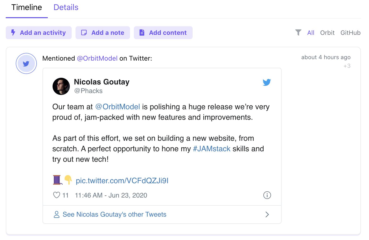 Screenshot of the Orbit Twitter integration