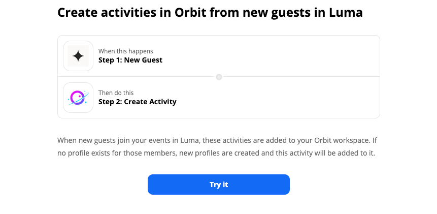 Getting starting using our Luma and Orbit Zapier template