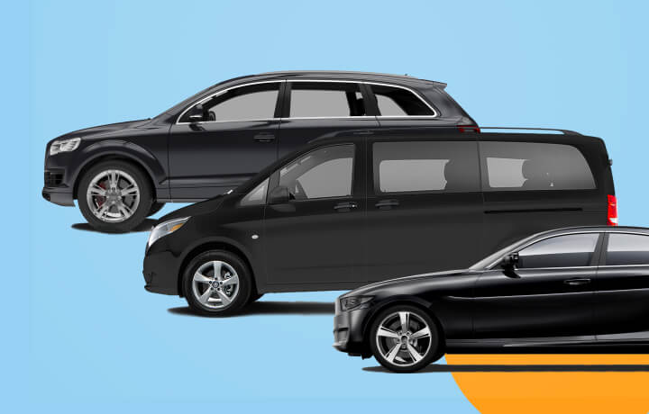 Graphic showing Via's fleet vehicles.