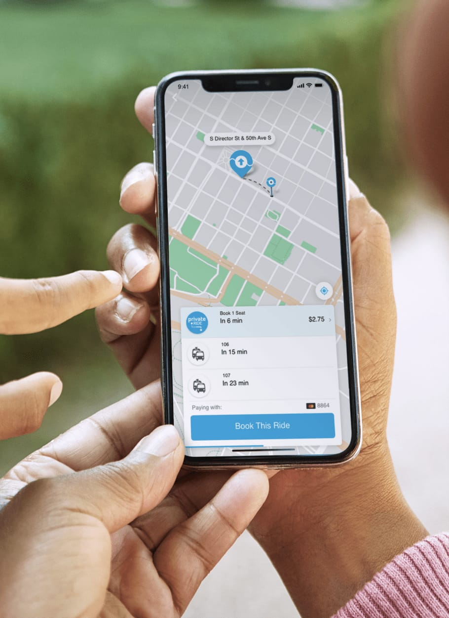 Rider booking a shared ride photo