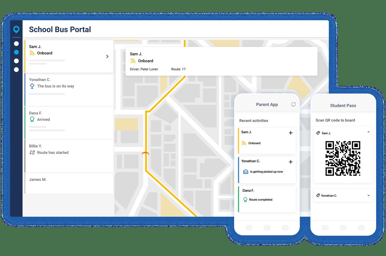 ViaViewer illustration for school bus transit planning.