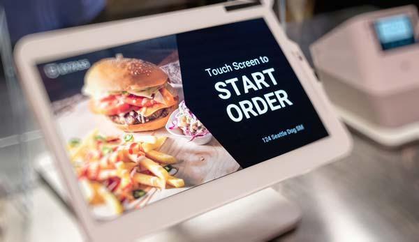 Food kiosk showing a cheeseburger
