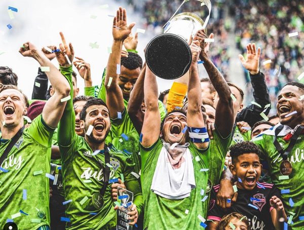 Sounders celebrating the MLS Cup victory