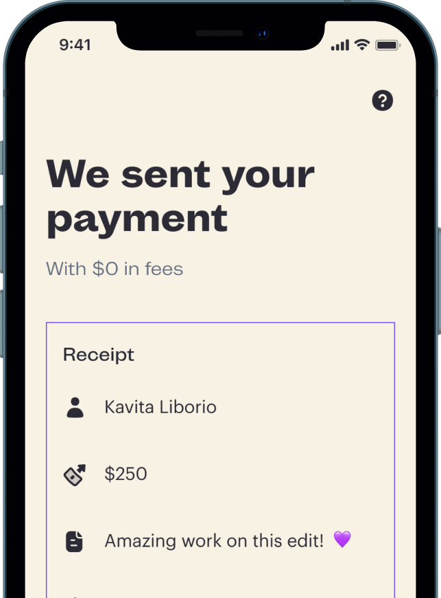 Screenshot of Payment confirmation from mobile app.