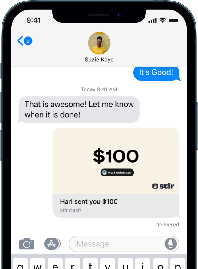 Screenshot from iOS iMessages  with Stir sending confirmation of payment.