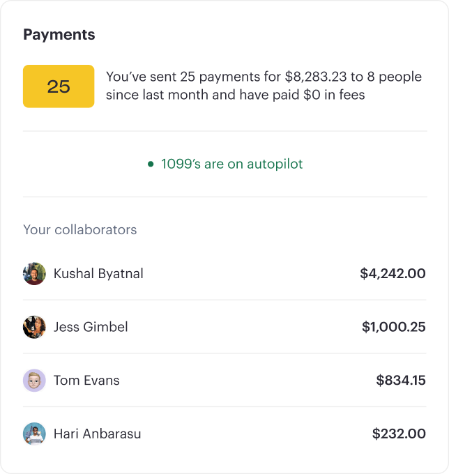 Component from app showing payments overview.