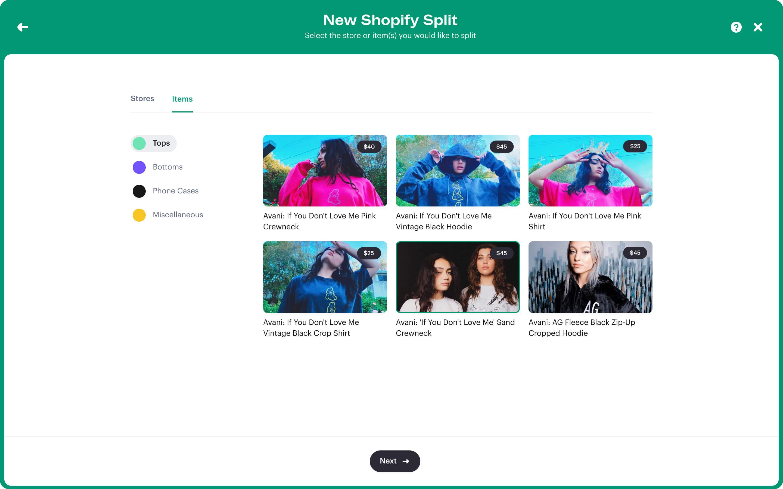 Stir Split summary of Shopify