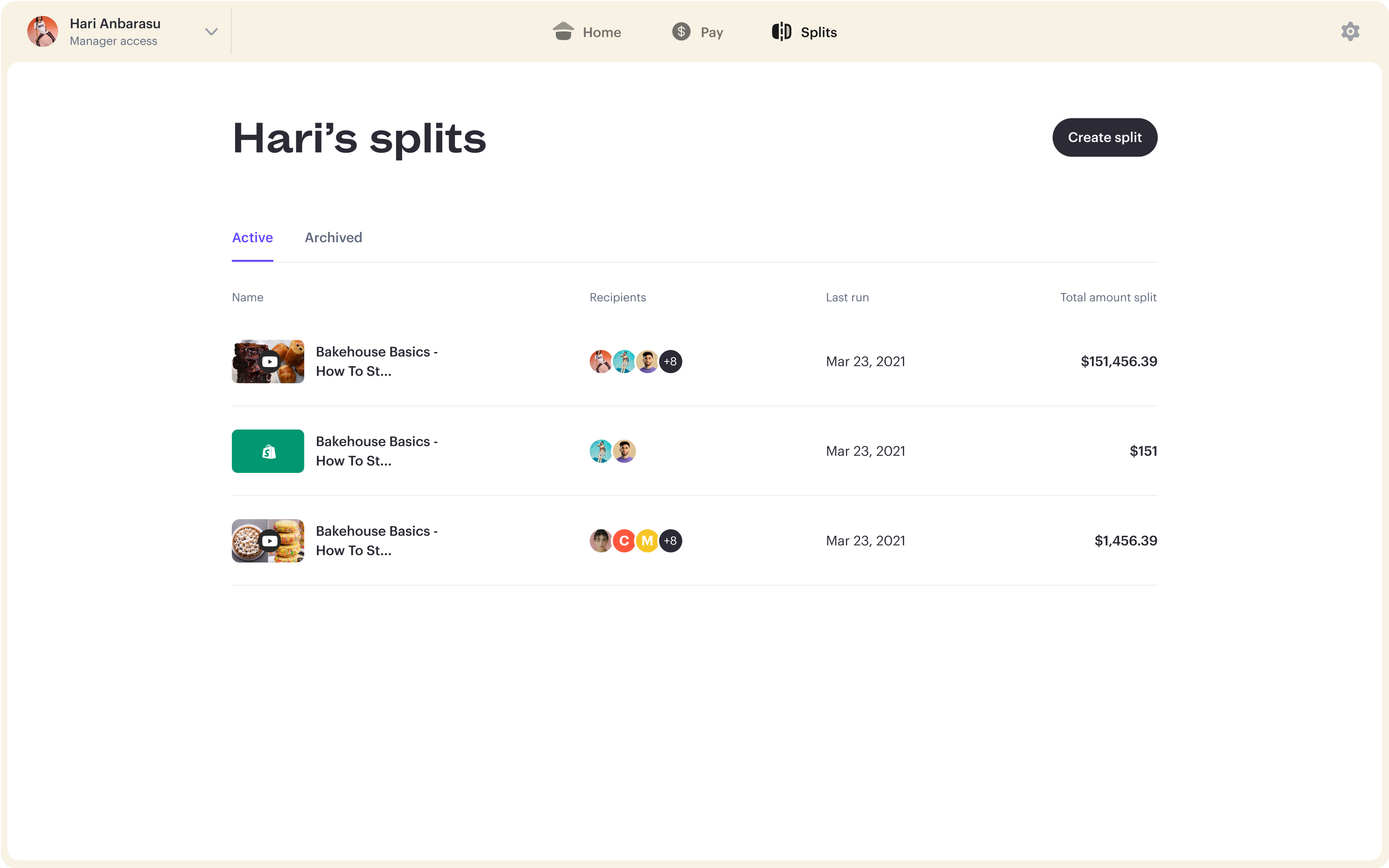 Stir's Split dashboard for managers.
