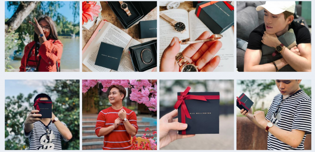 Now you can see the influencer content for Daniel Wellington in a specific period of time