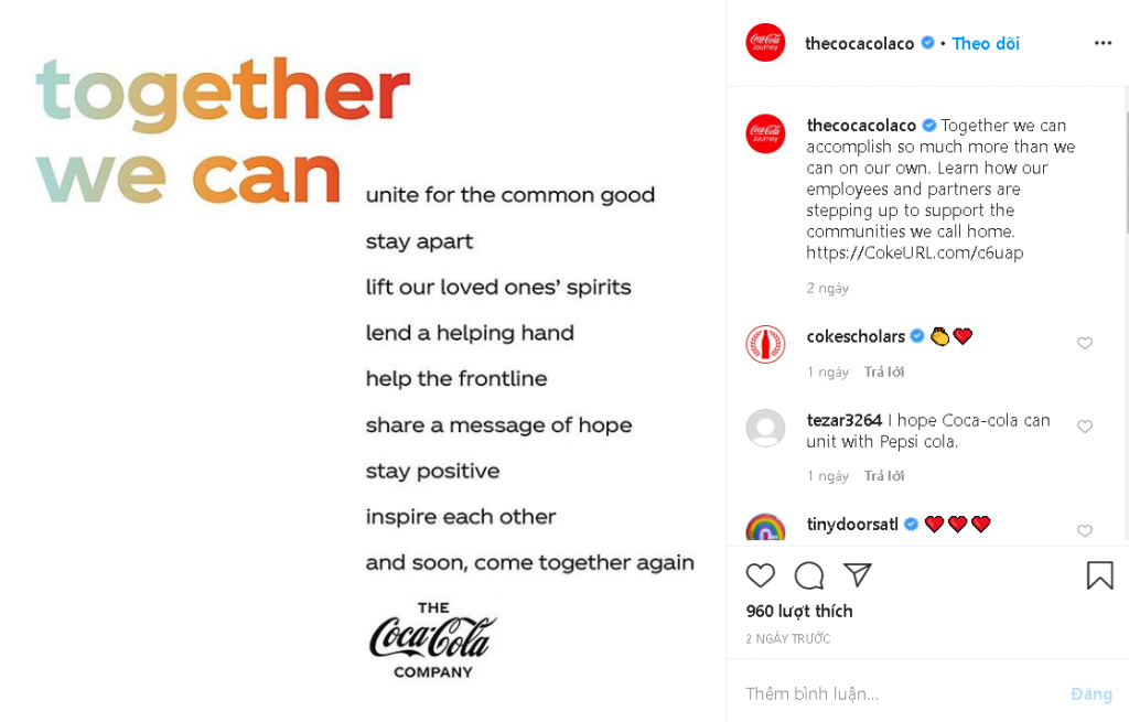 Cocacola is another brand that adapted their content marketing in response to the pandemic
