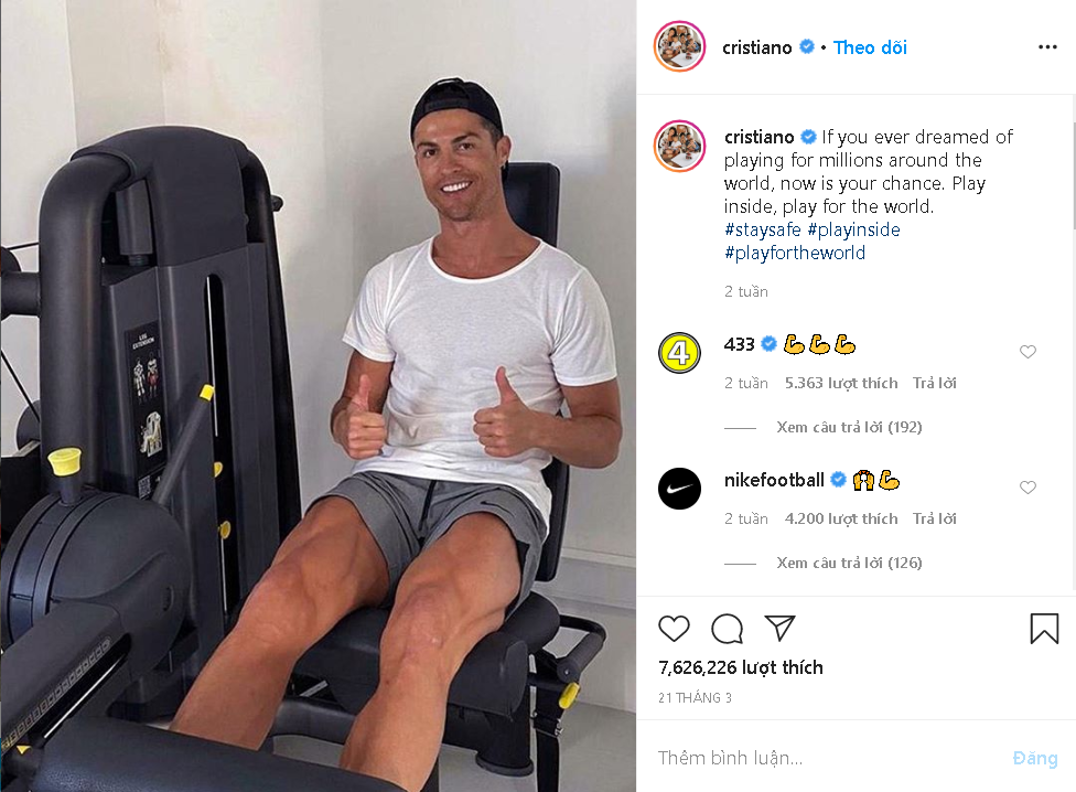 Cristiano Ronaldo, Nike's ambassadors, also repeated the message later in his post.