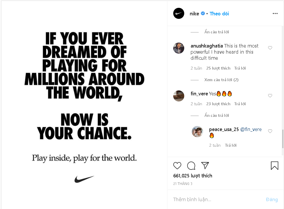 Nike's message succeeded in delivering the sporting spirit while encouraging compliance with self-quarantine.
