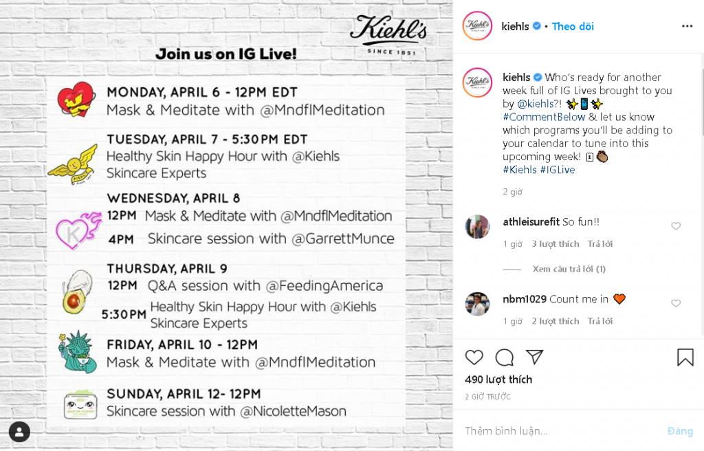 Kiehls launched a series of virtual sessions in the period of self-isolation
