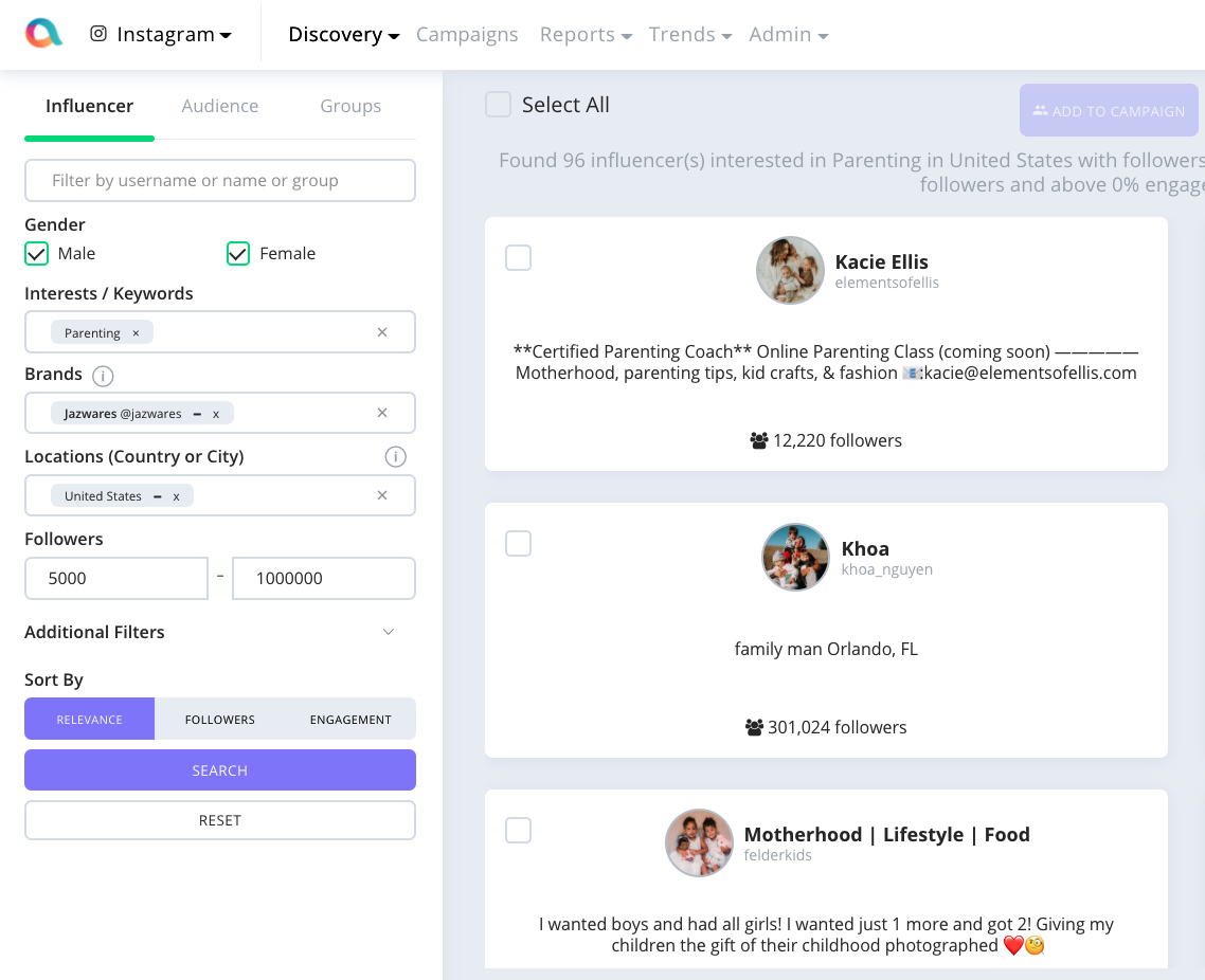 Affable's Influencer Marketing Platform helps you find influencers based on their age, gender, location, interests and engagement rate
