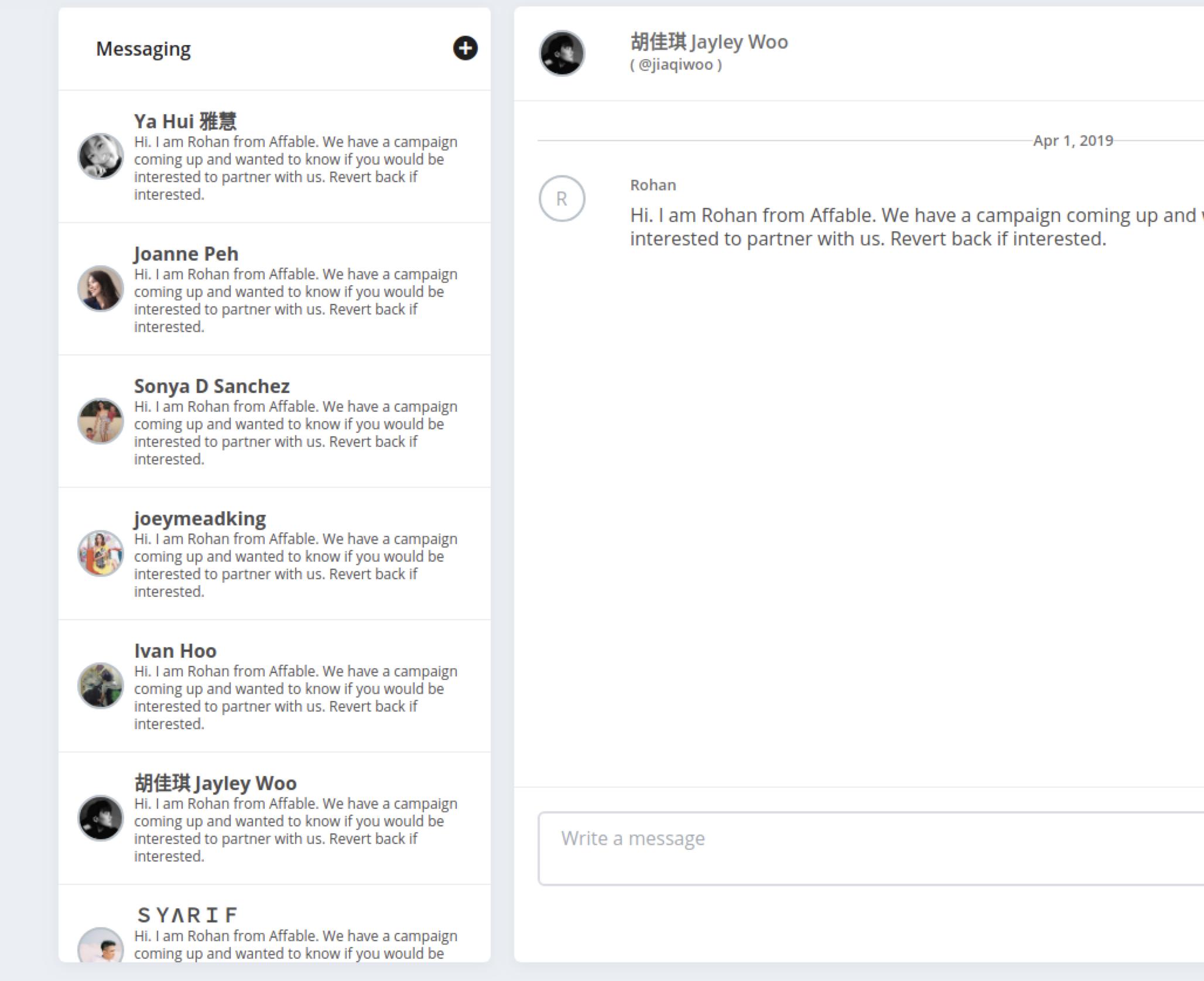 Affable Influencer Marketing Platform helps you send email to influencers