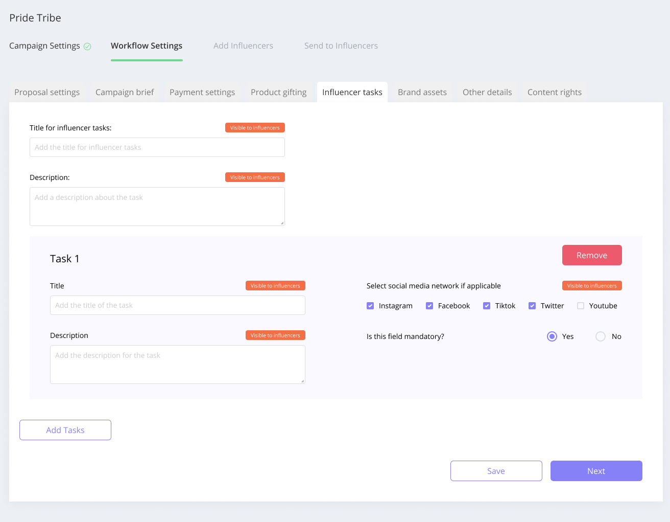 Affable lets you configure the tasks that the Influencers are supposed to complete for a campaign